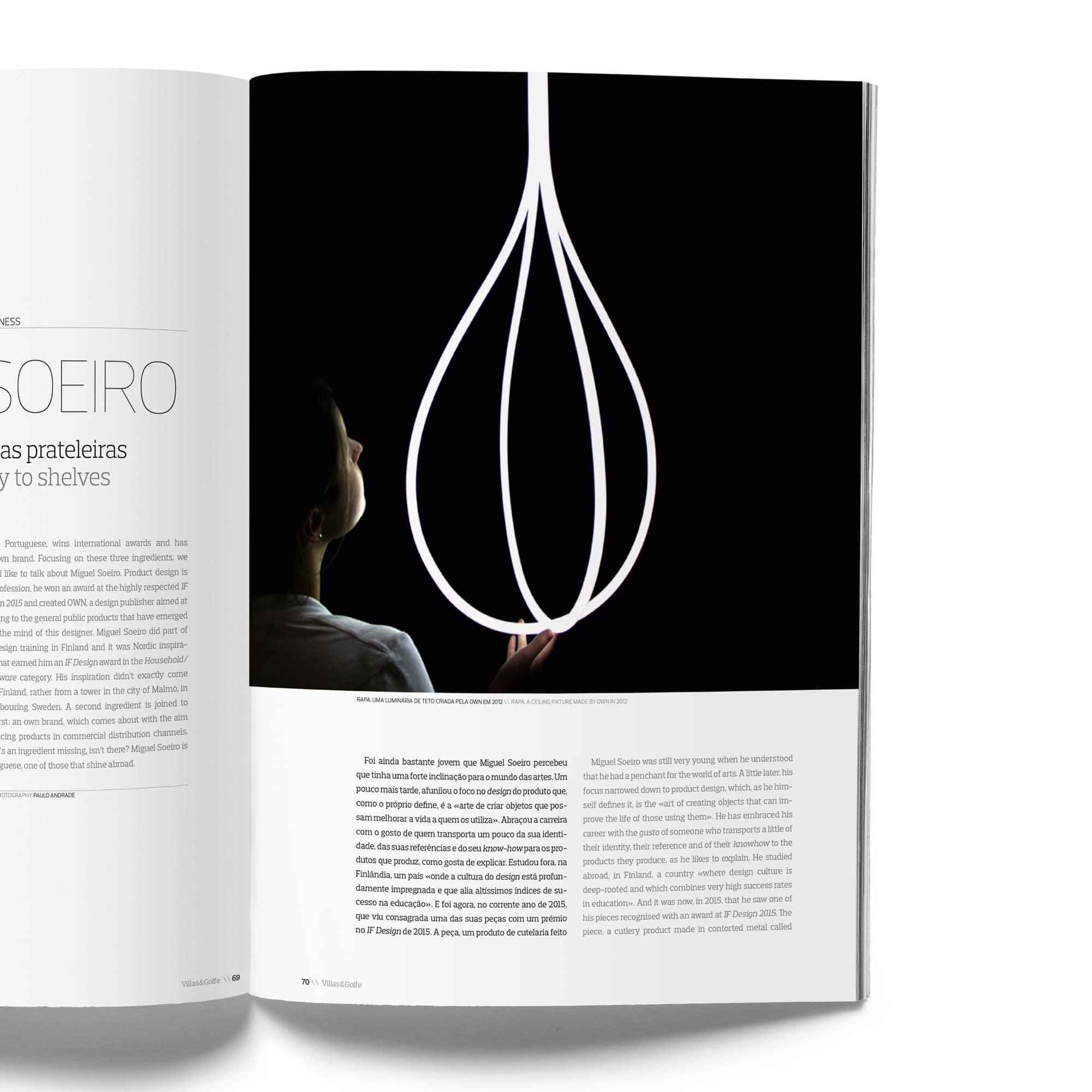 Villas & Golfe Inner Page Hanging Lamp - DESIGN BY MIGUEL SOEIRO