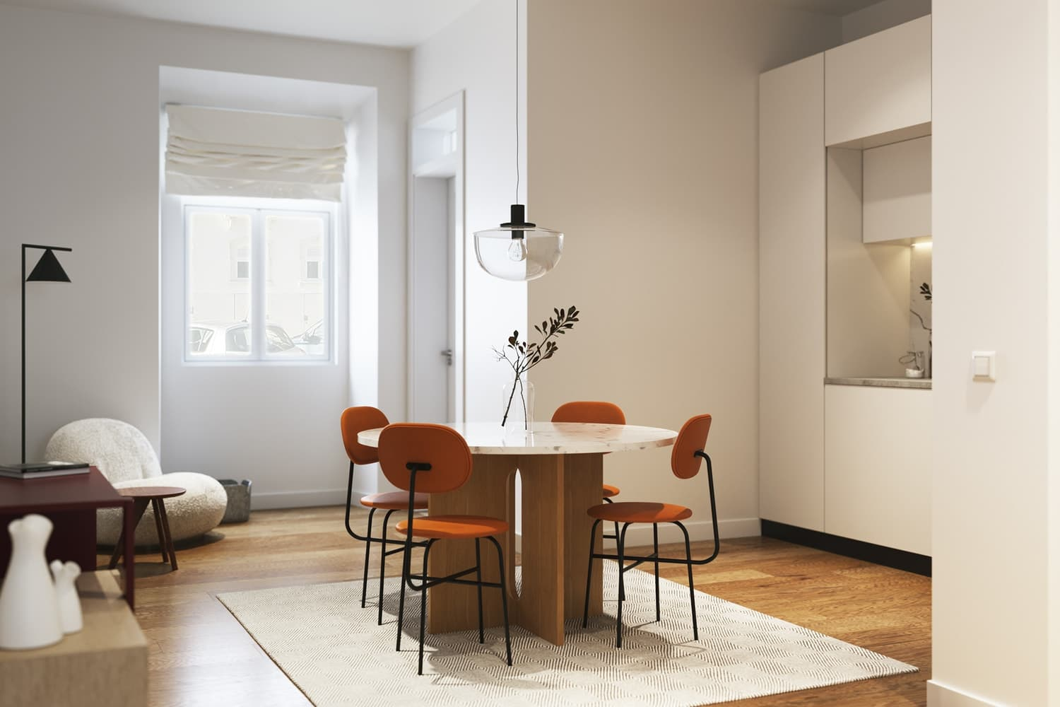 Dinning Table With Hanging Lamp -DESIGN BY MIGUEL SOEIRO